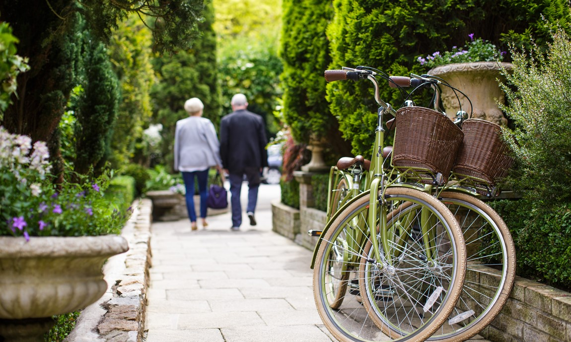 Bicycles in Greenhills' garden