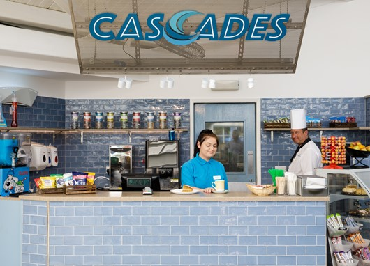Dine by the pool at the new style Cascades Café